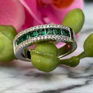14k white gold over 925 lab emerald diamond band